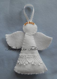 White Felt Angel Ornament Set of 2 by TwirlinginTulle on Etsy,com - Wendy Schultz ~ Christmas Crafts.