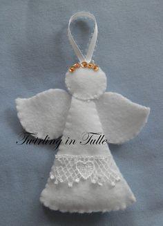 White Felt Angel Ornament Set of 2 by TwirlinginTulle on Etsy, $9.00