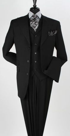 BFCM  CyberMonday  MensUSA -  MensUSA Mens Apollo King Wide Peak Lapel 3  Piece Wool Suit Black - AdoreWe.com 5d44bb99fb7