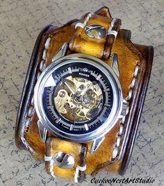 Tobacco Brown Watch Cuff Steampunk Leather by CuckooNestArtStudio