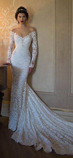 Off-the-shoulder lace wedding dress by Berta Bridal
