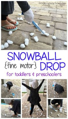 Winter (cotton ball) snowball drop fine motor busy bag for toddlers & preschoolers!