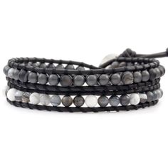 Chan Luu - Matte Hematine Mix Double Wrap Bracelet on Natural Black Leather, $105.00 (http://www.chanluu.com/mens-wrap-bracelets/matte-hematine-mix-double-wrap-bracelet-on-natural-black-leather/)
