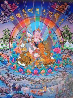 Guru Rinpoche with Consort Tibetan Art, Tibetan Buddhism, Tantra, Vajrayana Buddhism, Thangka Painting, Buddhist Prayer, Wheel Of Life, Buddha Art, Tibet