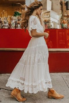 With its four contrasting lace tiers from the waist and shell buttons at the bust, the luminous Dawn. Spell & The Gypsy Dawn Lace Gown Cream. Hippie Dresses, Boho Dress, Bohemian Gown, Bohemian Fall, White Maxi Dresses, White Dress, White Hippie Dress, Lace Maxi, Lace Dresses