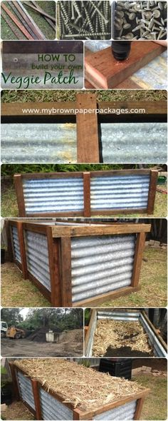 Very simple tutorial on how to build a veggie garden using recycled materials. This backyard raised garden bed is made from corrugated tin with a wood frame. Grow your own vegetables and produce in your backyard to be more sustainable www.mybrownpaperpackages.com