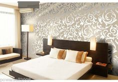 ANK01 European Murals Flocking TV Background Parlourbedroom Silver Wallpaper | eBay