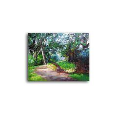 Hand-painted Landscape Oil Painting with Stretched Frame ($89) ❤ liked on Polyvore featuring home, home decor, wall art, oil paintings, landscape oil painting and landscape wall art
