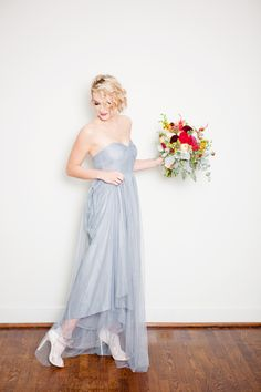 Dusty Blue Fall Bridal Shoot. I love the lace heels and fall bouquet! by Danielle Evans Photography