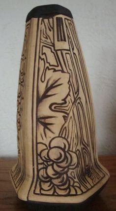 Weller Burntwood Grape and Leaf design vase Weller Pottery, Ceramic Pottery, Lebanon, Leaf Design, Danish, Arts And Crafts, Vase, Ceramics, Decorating