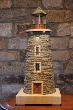 me ~ miniature stone lighthouses Garden Lighthouse, Clay Pot Lighthouse, Lighthouse Decor, Ocean Crafts, Beach Crafts, Home Crafts, Diy Crafts, Bottle Art, Bottle Crafts