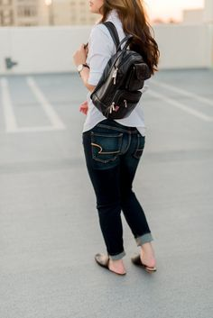 Dress Up, Chow Down in Detroit - Effortless Black Backpack Style