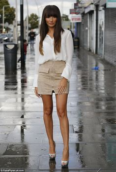 Stunning:Megan McKenna showed off her new locks when she arrived at Faces nightclub in Gants Hill, Essex for TOWIE filming on Sunday