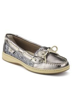 {Angelfish Slip-On Boat Shoe In Pewter} Sperry Top-Sider - sparkles!