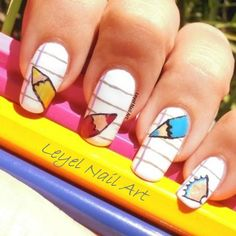 Back to School Nail Art Is Very Cute For The Back To School Season... The Time Will Come When School Starts Again But You Don't Want A Boring Or Dull Design Do You.?? Try This design out for something cute and stylish.!!!!