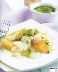 Μπακαλιάρος «στα λευκά» με πράσινη σάλτσα - Συνταγή i-Food.gr by Giorgio Spanakis