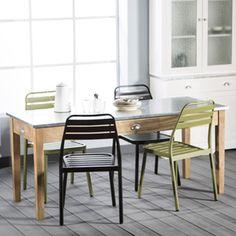Table à manger en bois naturel et plateau zinc 4 tiroirs