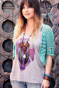 Violet Bella wearing a cute crochet top!