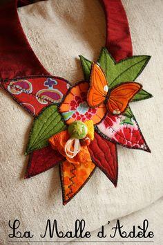 Collier plastron textile jardin printemps papillon
