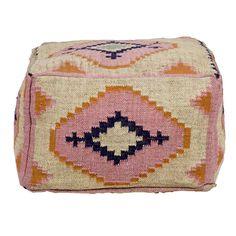 MAYA OTTOMAN CODE: 33-049 DIMENSIONS: 60 X 60 X 35 CM Wool / Jute w Cotton Filling