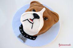 BULLDOG CAKE for a BULLDOG BIRTHDAY Dog Themed Parties, Puppy Birthday Parties, Themed Birthday Cakes, Birthday Cupcakes, Themed Cakes, Dog Cakes, Cupcake Cakes, Lego Friends Cake, Sweet 15 Cakes