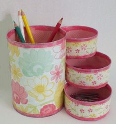 Desk Organizer / Pencil Holder made from recycled cans