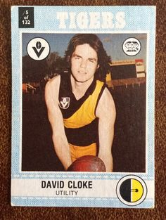 VFL AFL SCANLENS FOOTBALL CARD 1977 No. 5 DAVID CLOKE RICHMOND TIGERS - AUD 6.95. VFL AFL SCANLENS FOOTBALL CARD 1977 No. 5 DAVID CLOKE RICHMOND TIGERS Please refer photos for your own opinion of condition. Cards will be sent well packaged. Will combine postage costs on multiple purchases. Please wait for final invoice or I won't be able to offer postage discount. Feedback will be left once received. Check out my other football card listings or message me if you are after a particular ... Football Cards, Football Players, Baseball Cards, Richmond Afl, Tigers, Aud, Melbourne, Check