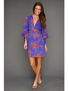 Tbags Los Angeles Deep V-Neck Kimono Sleeve Mini Dress with Tie Waist