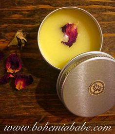 Chocolate Rose Balm ~ easy to make and perfect to keep in your pocket to moisturize your beautiful self. Use as lip balm, skin moisturizer or as a light perfume. Rose and Chocolate are naturally euphoric! To make: 1 part Beeswax 1 part Coconut Oil 1 part Cacoa Butter ~melt in a double boiler ~I added a couple of drops of evening primrose, rose hip oil and rose essential oil. ~ pour in a tin container ~ rose petal www.bohemiababe.com