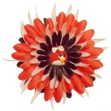This Angry Birds flower hair clip for little girls is only $2.98! www.GirlsCrochetHeadbands.com