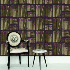 Piero Fornasetti; 'Ex Libris' Wallpaper by Cole and Son.