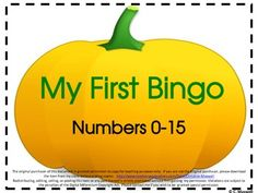 Freebie! My First Number Bingo Game for Fall, Halloween, and Thanksgiving