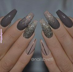 In search for some nail designs and some ideas for your nails? Listed here is our listing of must-try coffin acrylic nails for cool women. Cute Acrylic Nails, Acrylic Nail Designs, Fun Nails, Nail Art Designs, Dark Nail Designs, New Years Nail Designs, Autumn Nails Acrylic, Coffin Nail Designs, Acrylic Nails Coffin Glitter