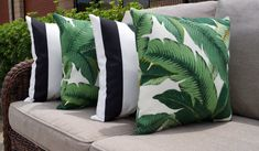 Palm Green Outdoor Pillow, Tommy Bahama Swaying Palms Aloe and Finnigan Tuxedo Black and Whitte Outdoor Throw Pillows - 4 pack - Free Ship