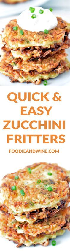 Quick and Easy Zucchini Fritters Recipe! This healthy recipe is loaded with onion, garlic and topped with sour cream! Perfect appetizer or side dish for your holiday menu or anything. Day Fix Squash Recipes) Zucchini Muffins, Zucchini Fritters, Recipe Zucchini, Side Dish Recipes, Low Carb Recipes, Cooking Recipes, Healthy Recipes, Side Dishes, Skinny Recipes