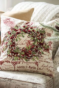 Decorate your home with festive Christmas Pillows. Here's a few and some tips too!---French knots for the berries Christmas Colors, Christmas And New Year, All Things Christmas, Winter Christmas, Christmas Home, Christmas Crafts, Christmas Decorations, Christmas Ideas, Xmas