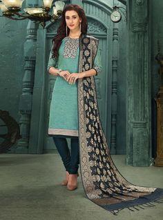 Teal Chanderi Silk Readymade Kameez With Churidar 129884 Indian Look, Indian Ethnic Wear, Salwar Kameez Online, Churidar, Salwar Suits, Teal, Turquoise, Blue, Indian Fashion