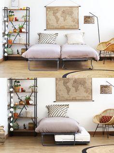 Sommier gigogne pas cher fabriqué en France. Vous permet d'obtenir 2 couchages dans un minimum de place. Idéal dans une chambre d'amis Minimum, Place, Entryway Bench, Guest Room, Sweet Home, Bedroom Decor, Diy, House, Furniture