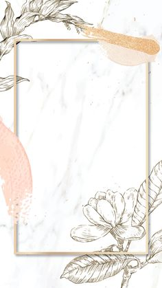 Rectangle frame with brush strokes and outline flowers decoration on marble background mobile phone wallpaper Gold Wallpaper Background, Framed Wallpaper, Pink Wallpaper Iphone, Wallpaper Backgrounds, Brush Background, Phone Backgrounds, Motif Art Deco, Instagram Frame Template, Story Instagram