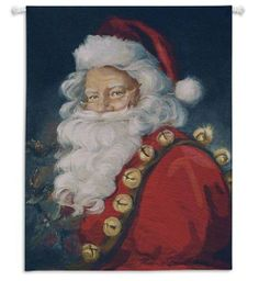 "Saint Nick Christmas Wall Hanging by Susan Comish 34"" x 44"" #Christmas #Tapestry #art #Home #Decor #Decorating #Gifts #DelectablyYours"