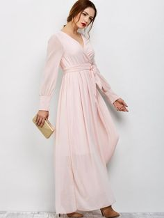 Belt Maxi Surplice Dress - PINK M Mobile