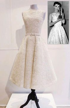 Audrey Hepburn wore this lovely simple gown by Givenchy when she accepted her Oscar for Roman Holiday in 1953.