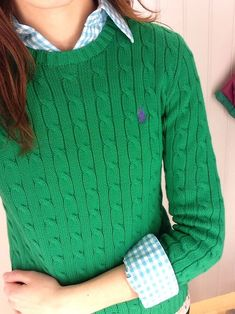 Gingham button-down + cable-knit pullover sweater