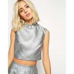 ASOS BLACK Crop Top with Gem Collar ($29) ❤ liked on Polyvore featuring tops, silver holographic, crop top, white top, asos, holographic top and white crop top