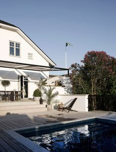 Outdoor terrace and swimming pool at the home of Daniella Witte
