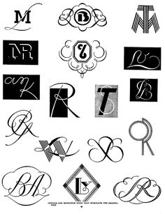 """Initials and monogram ideas that stimulate the imagina-tion.""  From Cartooning & Commercial Art, 1941"