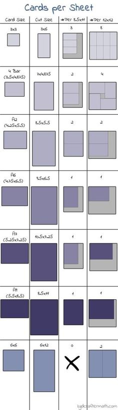 Card Sizes & Cutting Guides for card bases - compares x 11 & 12 x 12 paper sizes Card Making Tips, Card Making Tutorials, Card Making Techniques, Making Ideas, Card Tricks, Cricut Cards, Stampin Up Cards, Paper Cards, Folded Cards
