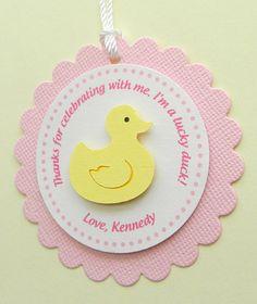 handmade RUBBER DUCK birthday favor tags by plumcakeparties