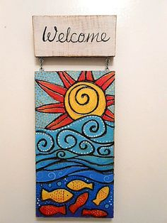 Carved on Wood Sun and Water with Fish Welcome by SummerHouseGal, $42.00