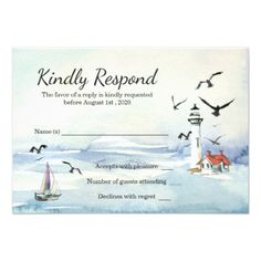 #wedding #responsecards - #Nautical Lighthouse Ocean Themed Wedding RSVP Card